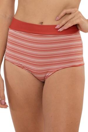 Calcinha Hot Pant Dupla Face Listrado Tijolo