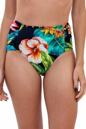 Calcinha Hot Pant Franzida Floral Preto