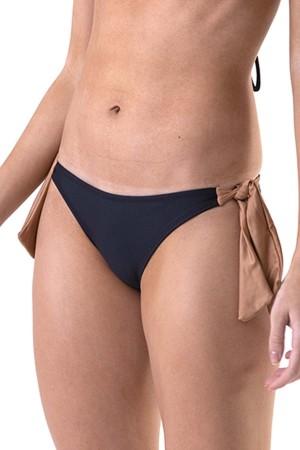 Calcinha 4 Laços Bicolor Preto/Caramelo