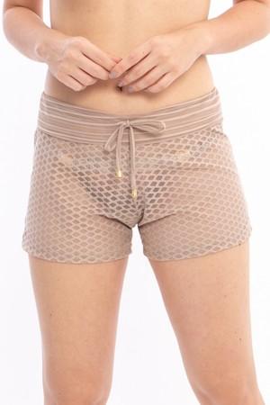 Shorts Renda Bege